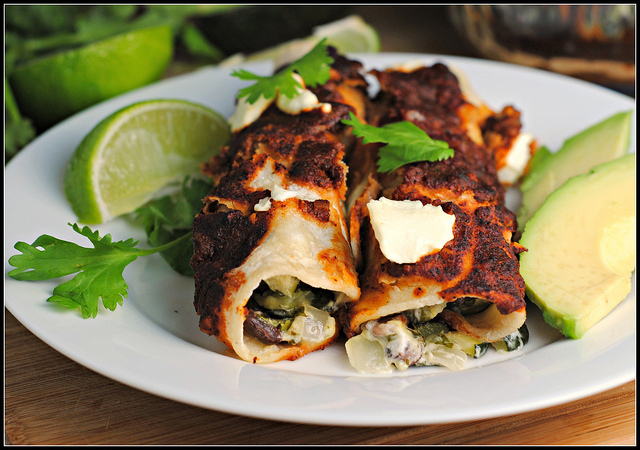 Black Bean-Roasted Zucchini-Goat Cheese Enchiladas